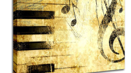 Stretched-Canvas-08615-Old Music Score Background-Retro-Canvas-A
